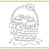 Outlined Easter basket of eggs