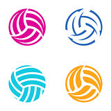 Colorful vector volleyball balls