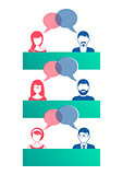 Man and woman dialog icons