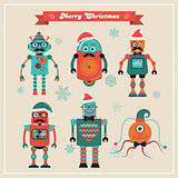 Set of Cute Retro Vintage Hipster Christmas Robots.