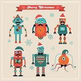 Set of Cute Retro Vintage Hipster Christmas Robots.