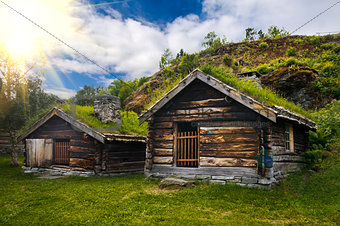 Beautiful view on ancient scandinavian village and countryside landscape