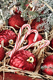 Candy Canes and Red Christmas Ornaments