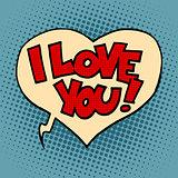 Comic bubble heart I love you