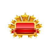 Red frame and gold stars. Vector
