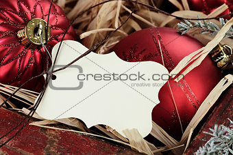 Blank Tag and Christmas Ornaments