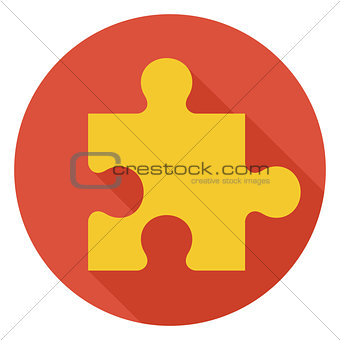 Flat Game Puzzle Circle Icon with Long Shadow