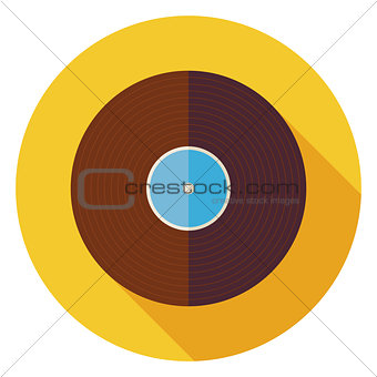 Flat Music Vinyl Record Disc Circle Icon with Long Shadow