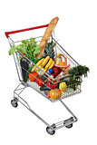 Filled food shopping trolley isolated on white background, no bo