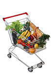 Filled foodstuffs shopping cart isolated on white background, no