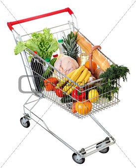 cart full of food, isolated image on white background