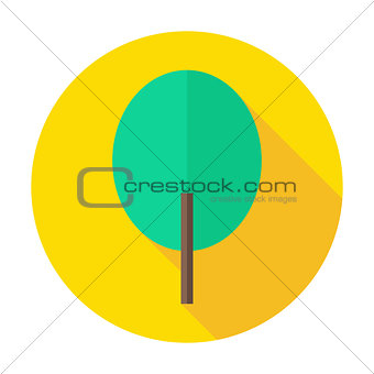 Flat Nature Tree Circle Icon with Long Shadow