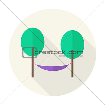 Flat Nature Trees with Hammock Circle Icon with Long Shadow