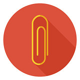 Flat Office Paper Clip Circle Icon with Long Shadow