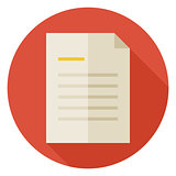 Flat Office Paper Letter Circle Icon with Long Shadow