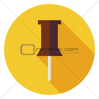 Flat Office Paper Pin Circle Icon with Long Shadow