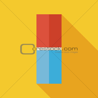 Flat Office Supply Eraser Illustration with long Shadow