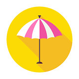 Flat Sun Summer Umbrella Circle Icon with Long Shadow