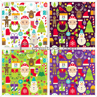 Four Vector Flat Merry Christmas Patterns Set