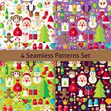 Happy New Year Four Vector Seamless Patterns Set