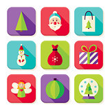 Happy New Year Merry Christmas Square App Icons Set