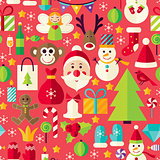 Happy New Year Vector Flat Design Red Seamless Pattern