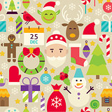 Merry Christmas Flat Design Vector Beige Seamless Pattern