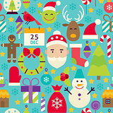 Merry Christmas Flat Design Vector Blue Seamless Pattern