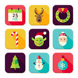 Merry Christmas New Year Square App Icons Set