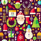 Merry Christmas Vector Flat Design Brown Seamless Pattern