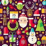 Merry Christmas Vector Flat Design Brown Seamless Pattern