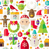 Merry Christmas Vector Flat Design White Seamless Pattern