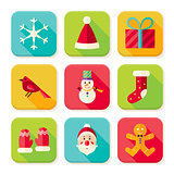 New Year and Merry Christmas Square App Icons Set