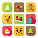 New Year Merry Christmas Square App Icons Set