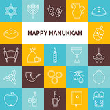 Thin Line Art Happy Hanukkah Jewish Holiday Icons Set