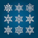 9 White Snowflakes
