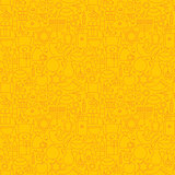 Thin Line Jewish Holiday Happy Hanukkah Seamless Yellow Pattern