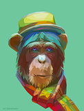 Chimpanzee polygonal illustration. Vector  eps 10