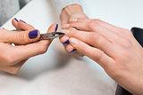 Nail technician perfom procedure hand care