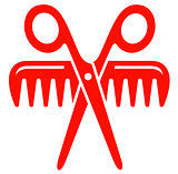 scissors with comb red icon