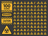 Vector icn set triangle yellow warning caution hazard signs.