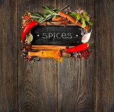 Colorful spices and herbs..