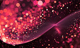 Abstract Red Background Lights Fractal glitter Wave with bokeh.
