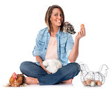 young woman and chicken