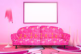 pink flower power sofa