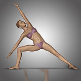 3D female figure in yoga standing position
