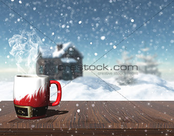 3D Christmas mug on a table with defocussed image of snowy house