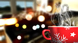 3D Christmas mug on defocussed cafe bar background