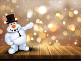 3D Christmas snowman on wooden table against a bokeh lights back