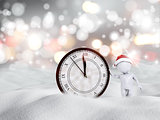 3D Happy New Year snowy scene with figure and clock